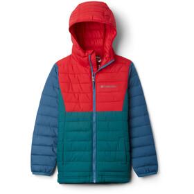 Columbia Powder Lite Hooded Jacket Boys, pine green/mountain red/blue heron